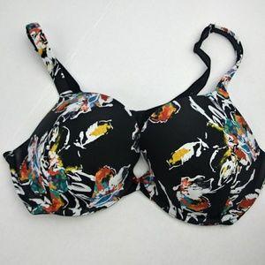 CACIQUE black floral print bra size 40D